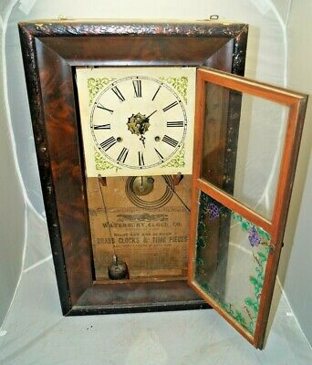 Antique 1860s Waterbury Painted Glass Shelf Mantle Clock PARTS REPAIR