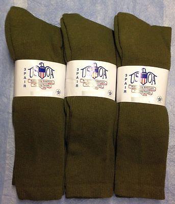 6pr Men's US Army Military Issue Anti-Fungal OTC Boot Socks OD GREEN 10-13 LG
