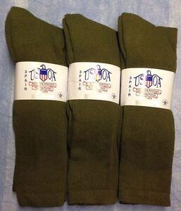 3pr Men's US Army Military Issue Anti-Fungal OTC Boot Socks OD GREEN 9-11 MED