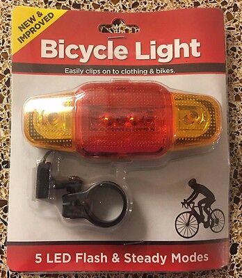 Led Lights On Clothing (Bicyle Light 5 LED Flash & Steady Modes Easily Clips on to Clothing & Bikes)