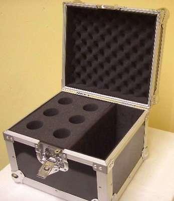 PROFI TOUR Mikrofon Koffer für 6 Mikrofone, Mikro Box Kiste Flight Case schwarz