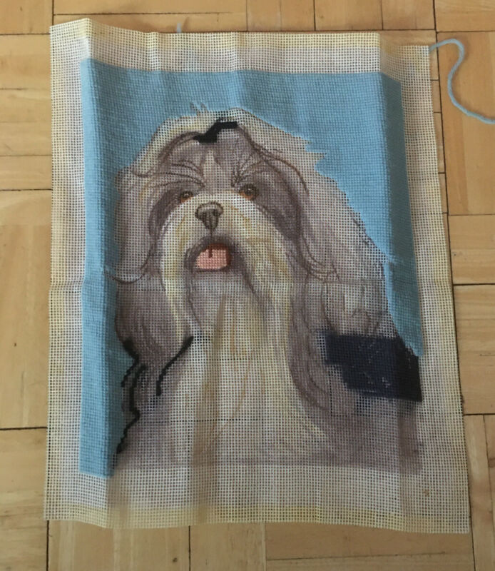 Needlepoint Vintage Canvas Started Dog Shih Tzu Long Hair Used