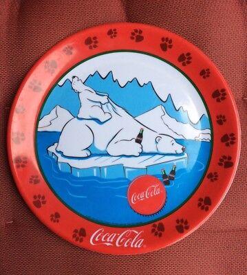 Vintage Coca-Cola 10.5 In. Polar Bear Plastic Decorated Plate 2001