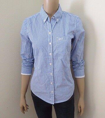 Nwt Abercrombie Mujer Rayas Botón Abajo Camisa Oxford Talla Pequeña Blusa Top