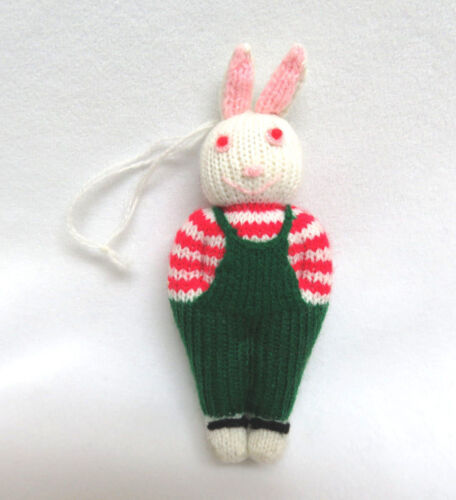 Vintage White Bunny Rabbit in Overalls Easter Ornament