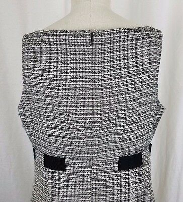 Jones wear robe noir et blanc tissé tweed taille empire ruban noeud femmes 14