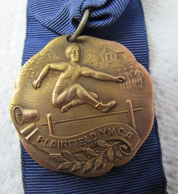 Antique YMCA PLAINFIELD Track Hurdle Medal Medallion Ribbon ornate high relief