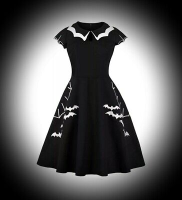 New Black/White Bat Embroidered Pattern Pan Collar Short Dress size 4XL 22 24 26