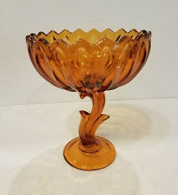 Amber Glass Flower Stem Pedestal Candy Compote Bowl Dish Tulip Lotus 7.5