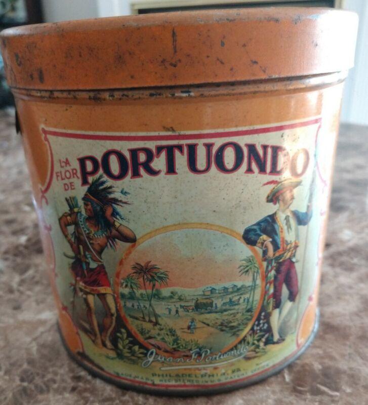 ORIGINAL 1919 La Flor De Portuondo CIGAR TIN,  W/ Tax Stamp 50 Cigars Empty