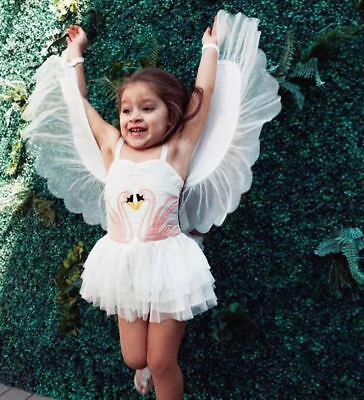 Flamingo Swan Costume Princess Kids Girls Dress Costume Detachable Wings - Swan Princess Kostüm