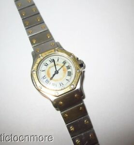 CARTIER  AUTOMATIQUE SANTOS OCTAGON 18K GOLD / SS AUTOMATIC WRIST WATCH