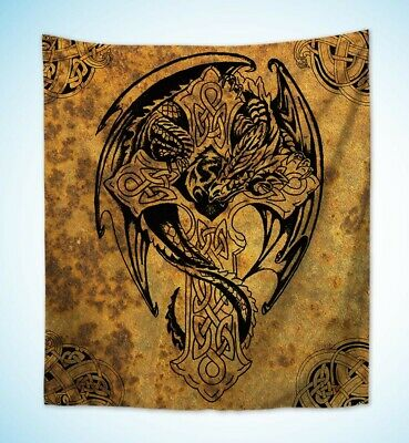 US Seller- inexpensive wall art Celtic cross dragon wall hanging tapestry for sale  Bellingham
