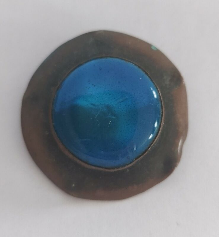 Arts and crafts movement copper enamel brooch