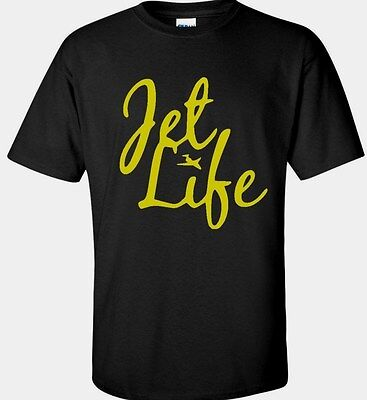Jet life Plane Airline T shirt Black Blue Gray Charcoal  Men and -