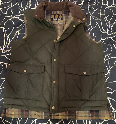 Barbour Wax Feather Gilet Mens Green Size Large
