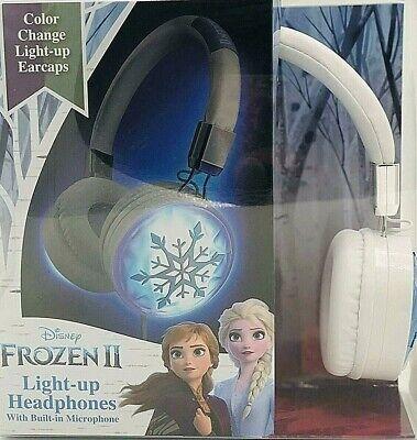 Disney Frozen 2 Light Up Headphones Kids Built In Mic Adjustable Headband NEW