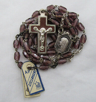 † NWT OLD STOCK VINTAGE SCAPULAR CENTER OVAL FACTED PURPLE GLASS ROSARY W TAGS †