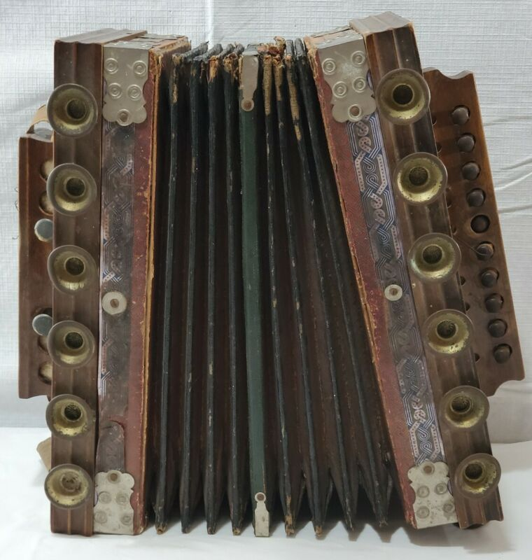 Vintage German Wooden And Brass Accordion