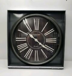 NEW Westminister Large Round Farmhouse 30 inch Wall Clock Black Roman Numerals