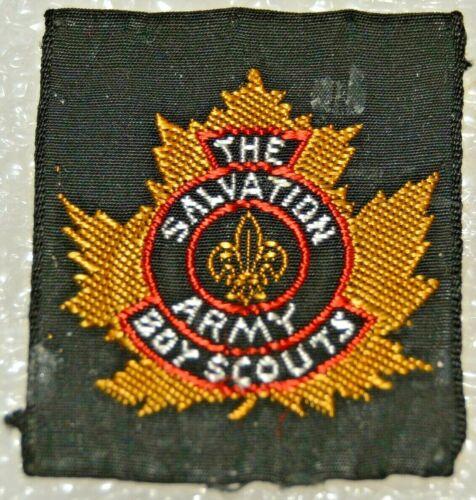 SALVATION ARMY Ribbon Rectangle Goldish Maple Leaf Boy Scout Badge (NAT3B) USED