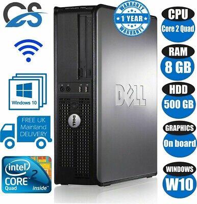 FAST DELL QUAD CORE PC COMPUTER DESKTOP TOWER WINDOW 10 WI-FI 8GB RAM 500GB WiFi