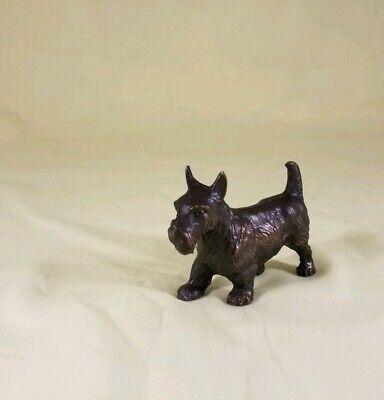 - VINTAGE MINIATURE SCOTTIE TERRIER DOG SOLID BRONZE FIGURE 1 3/4