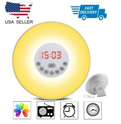 Wake Up Light Alarm Clock Digital LED 6 Color Switch Radio Sunrise Natural 1st e