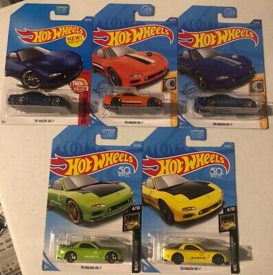 Hot Wheels - '95 MAZDA RX-7 - lot of 5 diff NIGHTBURNERZ HW TURBO & THEN AND NOW
