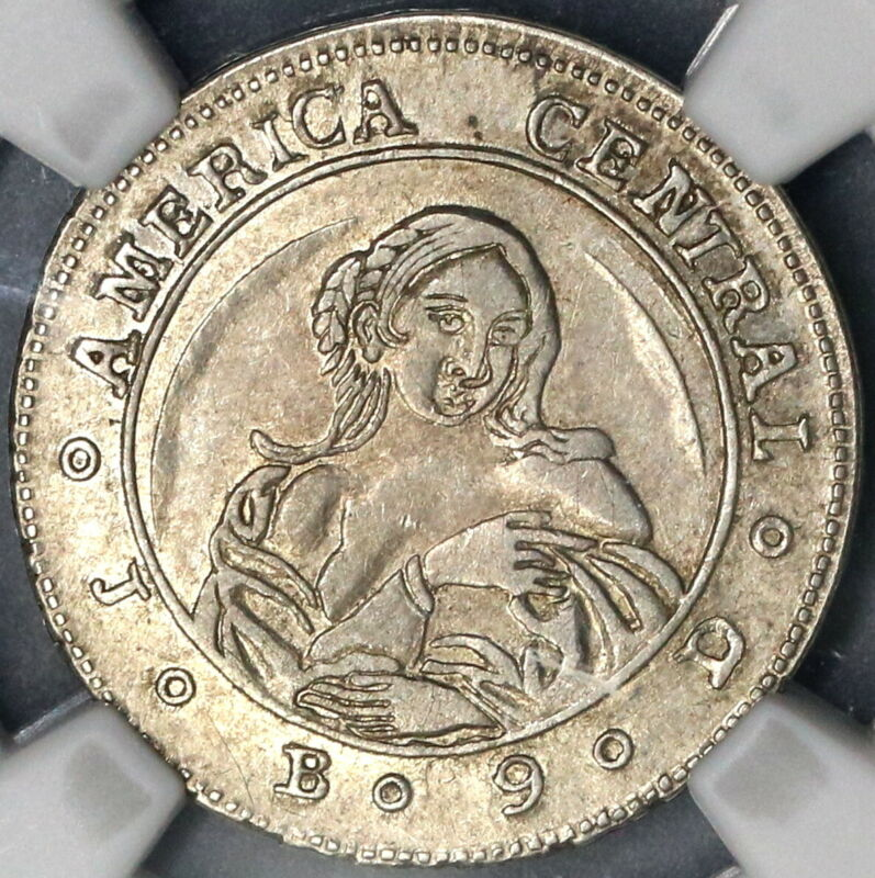 1849 NGC AU 50 Costa Rica 1 Real Coffee Tree & Woman Silver Coin (19032702C)