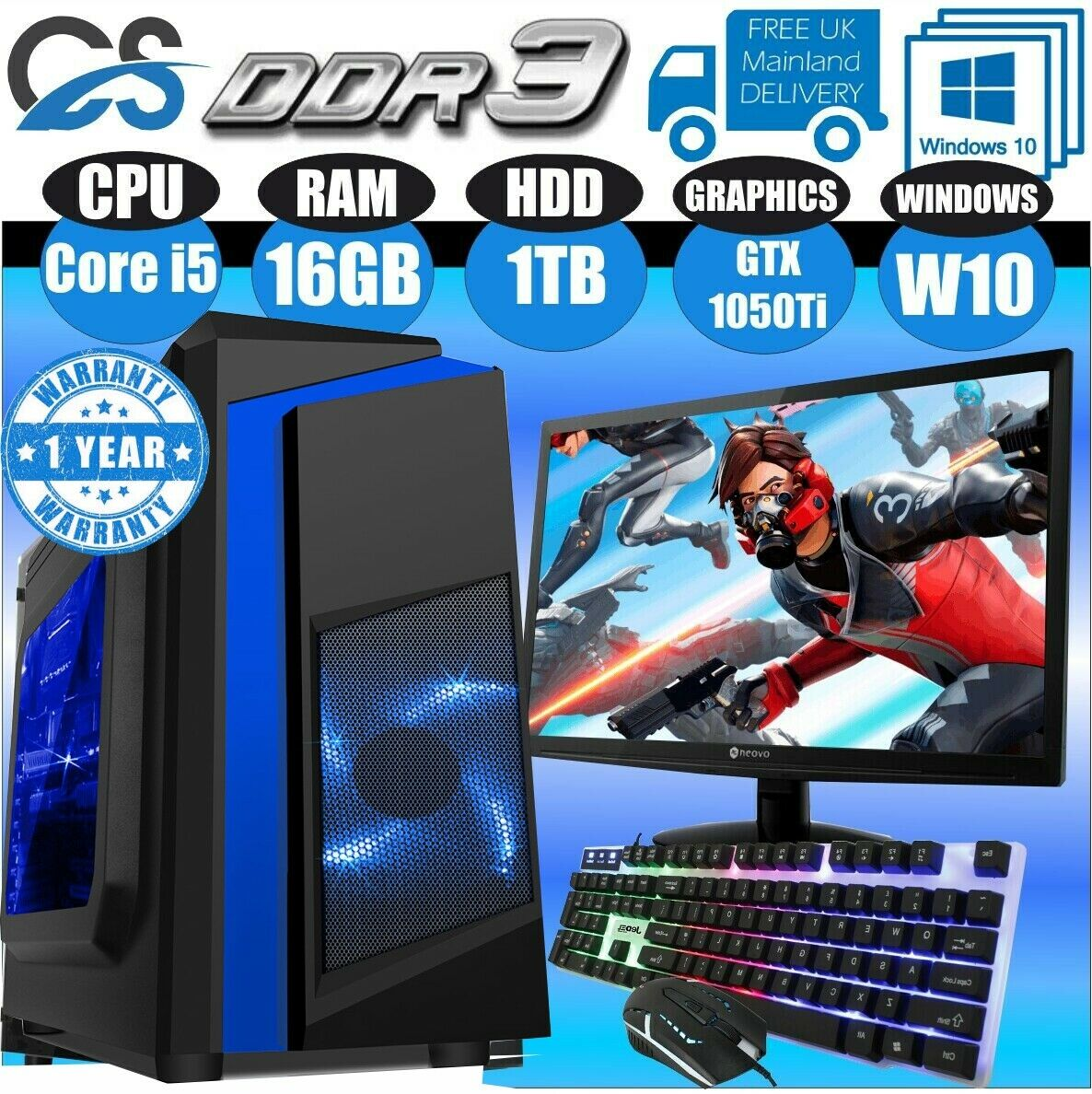 Computer Games - Fast Gaming PC Computer Bundle Intel Quad Core i5 16GB 1TB Win10 4GB GTX1050Ti