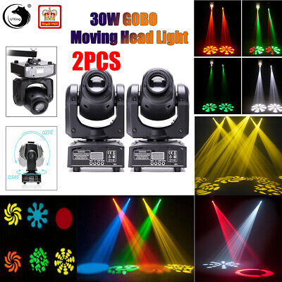 2PCS U`king Stage Lighting Spot GOBO RGBW 30W LED Moving Head DMX Disco DJ Party