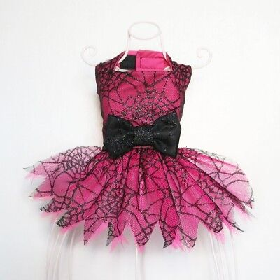 Halloween Handmade Dog Dress For Small Dogs - Pink Cobweb - Puppy Chihuahua