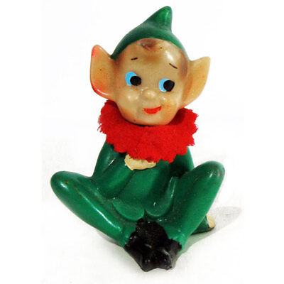 """Seated Green Pixie Elf, Rubber Body Red Felt Collar Pointy Ears Christmas 3.5"""" T"""