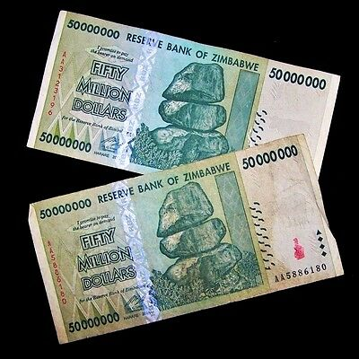 2 x Zimbabwe 50 Million Dollar Banknotes-paper money currency-2008/AA