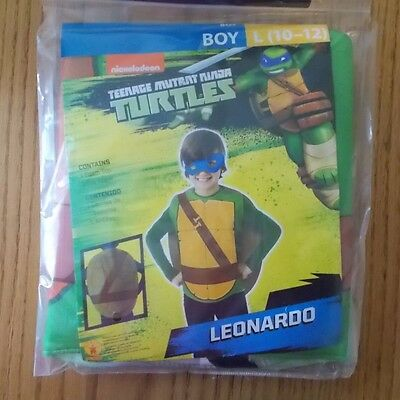Boys Size 10/12 Nickelodeon Teenage Mutant Ninja Turtle Leonardo Costume NIP