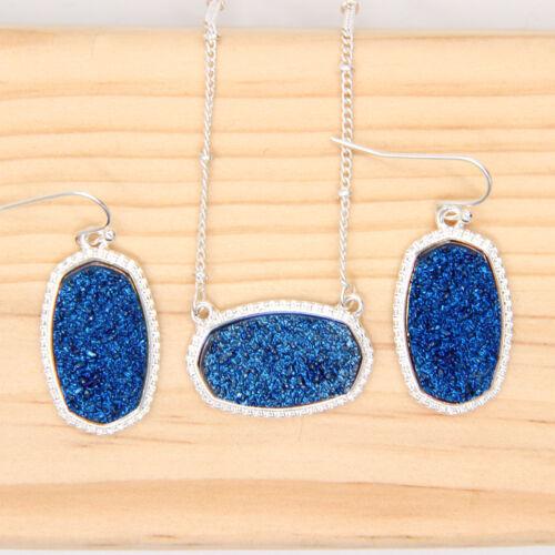 Long Oval Pendant Necklace With Earrings Jewelry Set Glitter Druzy Drop Dangle