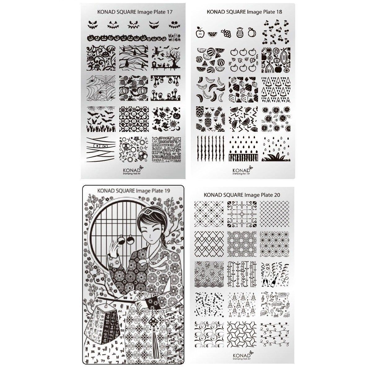 Genuine Konad Stamping Nail Art Square Image Plate 17 18 19 20 ...