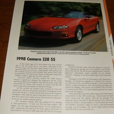 - ★★1998 CHEVY CAMARO Z28/SS SPECS INFO PHOTO 98 LS1 Z/28 CONVERTIBLE★★
