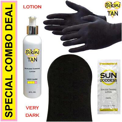 BIKINI TAN - Sunless Self Tanning Lotion - VERY DARK - 8 oz + Best Tanner (Best Dark Self Tanner)