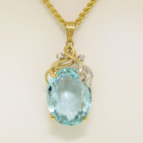 "14k Solid Gold 16.14ctw Oval Rich Aquamarine & Diamond Pendant Necklace 18""chain"