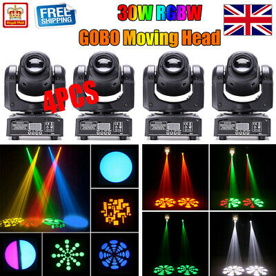 4PCS U`king 30W Moving Head GOBO Stage Lighting Spot RGBW LED DMX Disco DJ Party