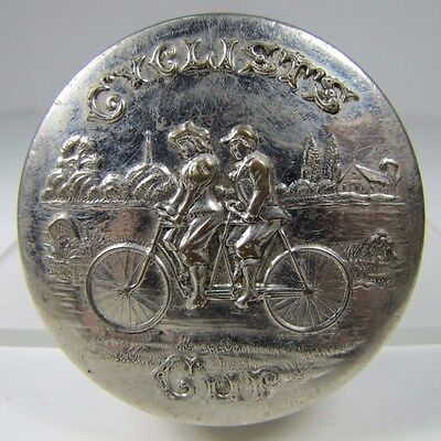Antique CYCLISTS pat 1897 BIKE Expandable Travel Cup embossed top made in USA