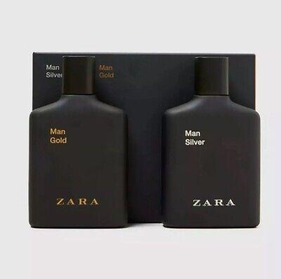ZARA MAN 2 X EAU DE TOILETTE EDT GOLD 100ML & SILVER 100ml Brand New Twin EDT