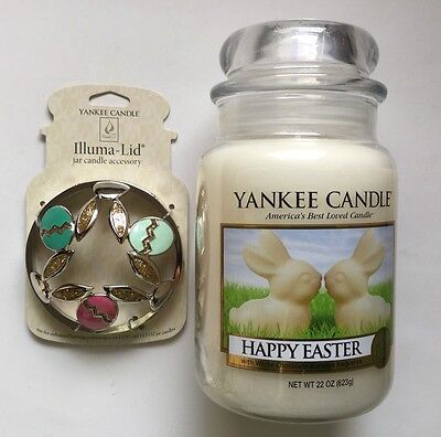 Yankee Candle Happy Easter 22 Oz  Jar   Cottontails Jar Candle Illumalid Set Htf
