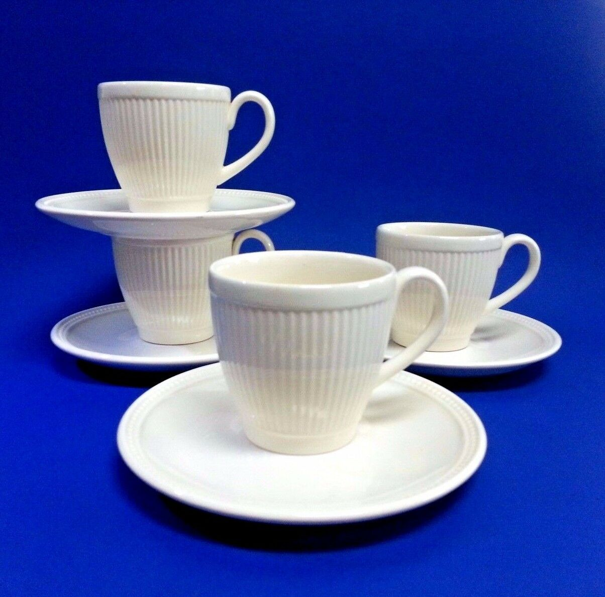 (4) Wedgwood Cream Ivory Windsor Demitasse Cups Saucers NOS England