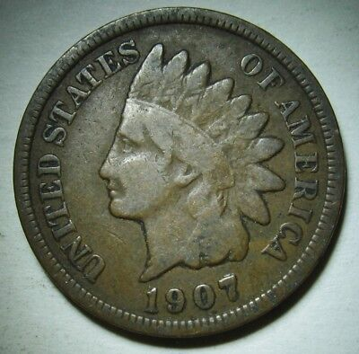 1907 Indian Head Cent in Average Circulated Condition    DUTCH AUCTION