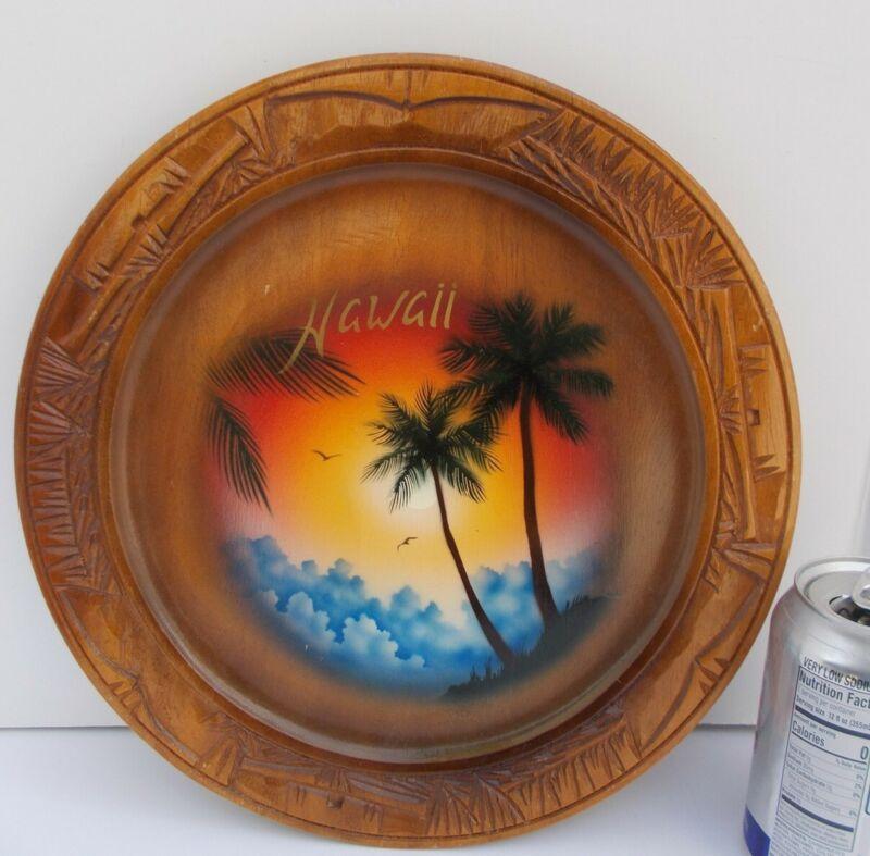 Vintage Hawaii Souvenir Wooden Hand Carved Painted Plate Hawaiian Sunset Tiki