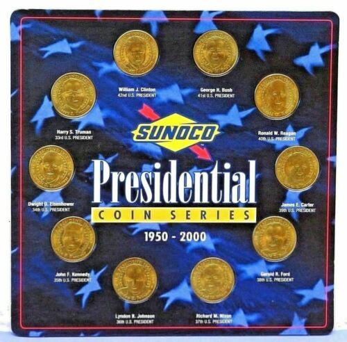 Sunoco Presidential Brass Coin Series 1950-2000 Set