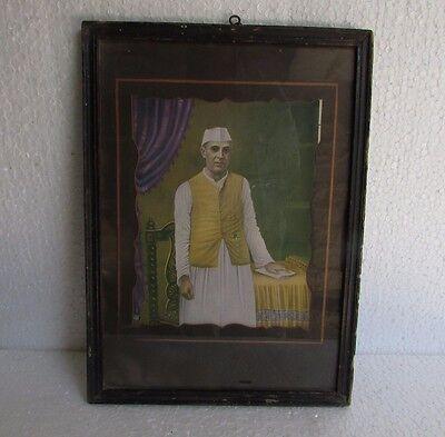 Vintage Print Wooden Framed of Jawaharlal Nehru, 1st prime minister of (Vintage Frames India)